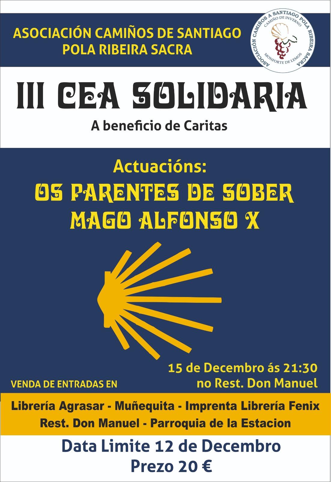 Cena Solidaria a beneficio de Cáritas Diocesanas