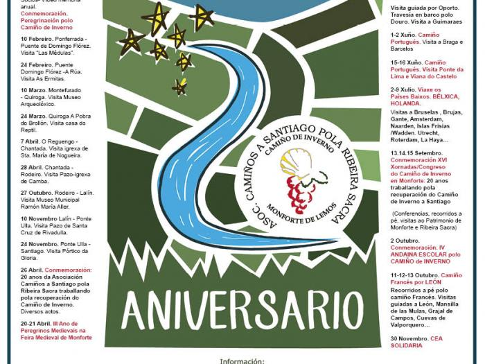 Programación anual de la Asociación del Camino de Invierno por ribeira Sacra centrada en la celebración se su 20 Aniversario