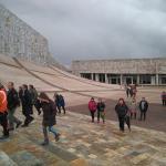 La asociación del camino de Invierno por Ribeira Sacra llegando a la Ciudad de la Cultura